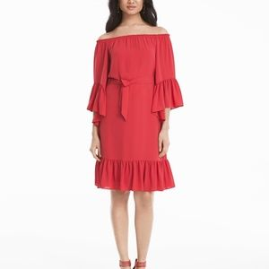 WHBM Coral Off The Shoulder Flounce Dress Size M